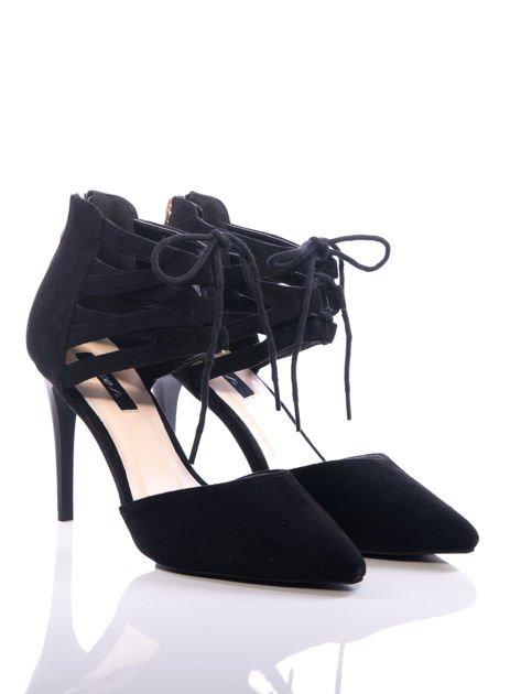Czarne zamszowe szpilki lace up z wiązaniem faux suede                              zdj.                              2