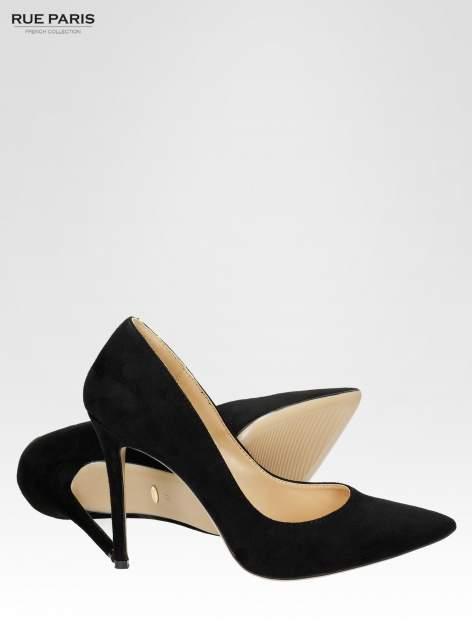 Czarne zamszowe szpilki z noskiem w szpic faux suede                                  zdj.                                  4