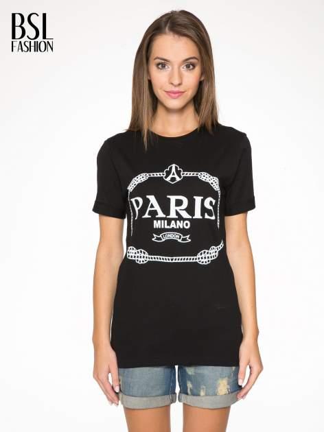 Czarnny t-shirt z nadrukiem PARIS MILANO                                  zdj.                                  1