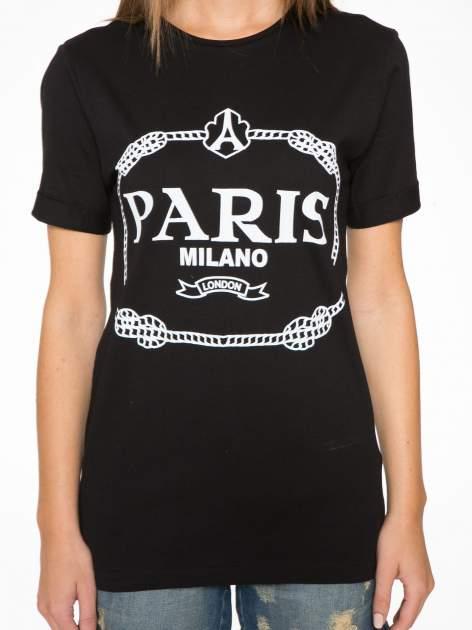 Czarnny t-shirt z nadrukiem PARIS MILANO                                  zdj.                                  8