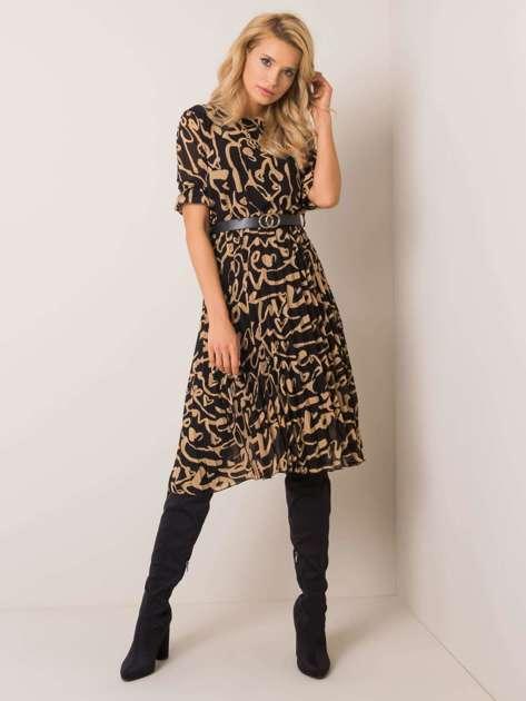 Czarno-beżowa sukienka Expect