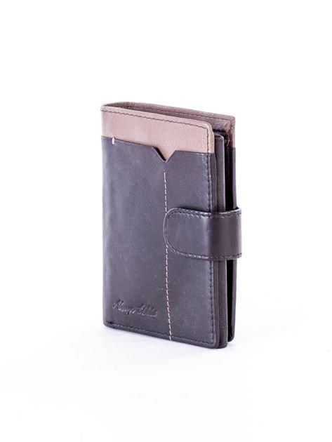 Czarno-beżowy portfel skórzany na zatrzask z kontrastowym wykończeniem                              zdj.                              3