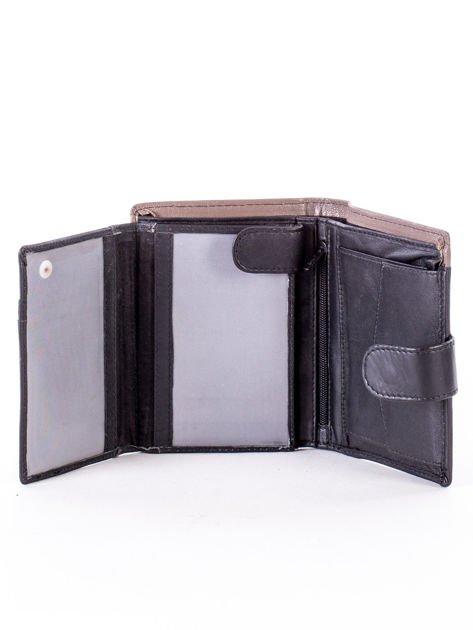 Czarno-beżowy portfel skórzany na zatrzask z kontrastowym wykończeniem                              zdj.                              5