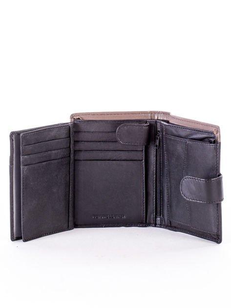 Czarno-beżowy portfel skórzany na zatrzask z kontrastowym wykończeniem                              zdj.                              6