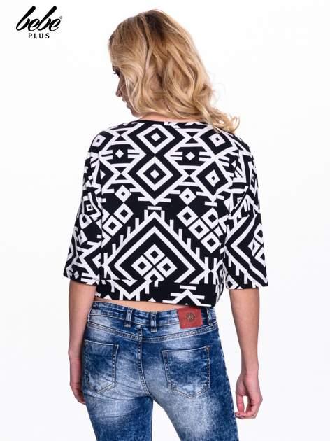 Czarno-biała bluzka cropped w azteckie wzory                                  zdj.                                  3