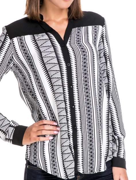 Czarno-biała koszula w geometryczne wzory                                  zdj.                                  6