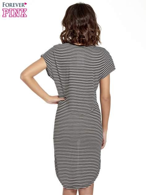 Czarno-biała sukienka w paski z napisem I DON'T THINK ABOUT IT!                                  zdj.                                  4
