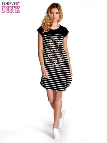 Czarno-biała sukienka w paski z napisem w stylu city                                  zdj.                                  4