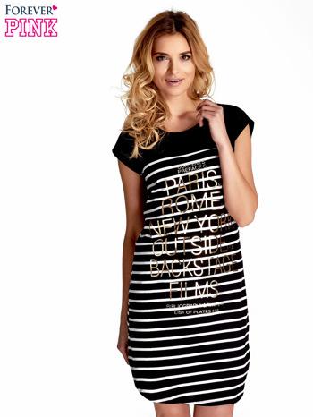 Czarno-biała sukienka w paski z napisem w stylu city