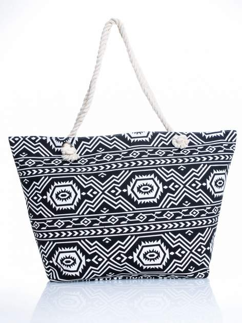 Czarno-biała torba plażowa w azteckie wzory                                  zdj.                                  5