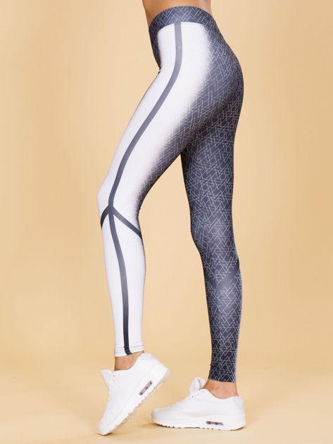 Czarno-białe legginsy w geometryczne wzory                              zdj.                              2