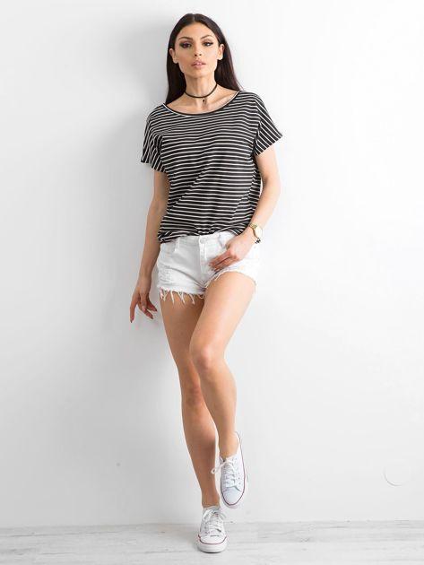 Czarno-biały t-shirt Morning                              zdj.                              4