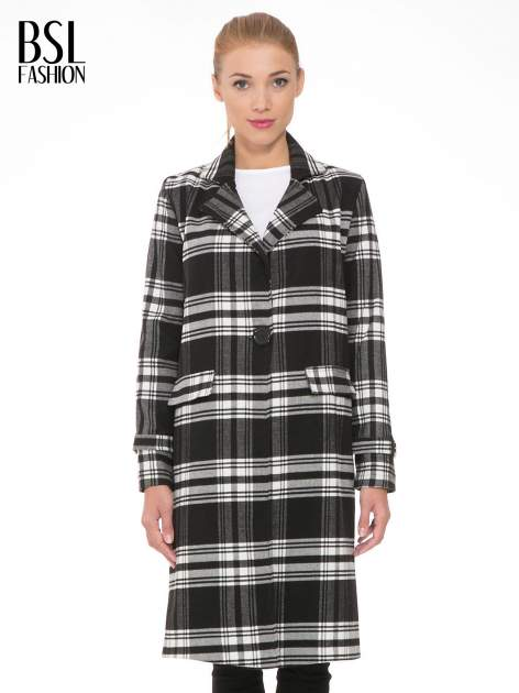 Czarno-biały wełniany płaszcz w kratę zapinany na jeden guzik                                  zdj.                                  1