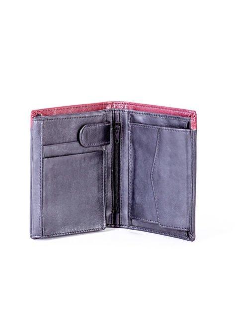 Czarno-bordowy portfel dla mężczyzny z ozdobnym wykończeniem                              zdj.                              4