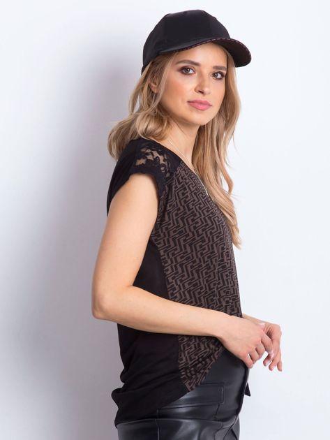 Czarno-brązowy t-shirt Hattie                              zdj.                              1