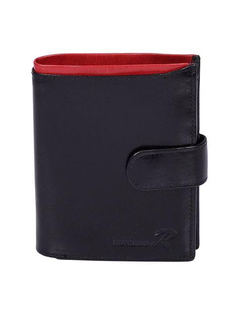 Czarno-czerwony męski portfel ze skóry naturalnej z zapięciem