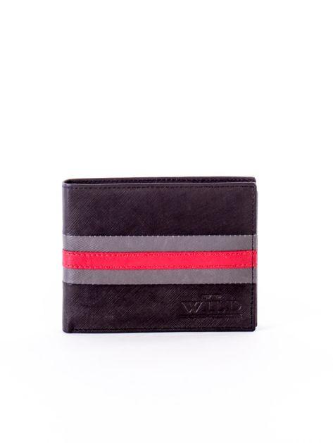 Czarno-czerwony portfel ze skóry naturalnej                               zdj.                              1