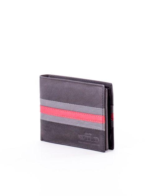 Czarno-czerwony portfel ze skóry naturalnej                               zdj.                              3