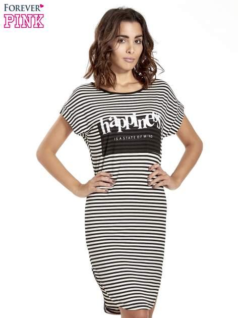 Czarno-ecru sukienka w paski z napisem HAPPINESS