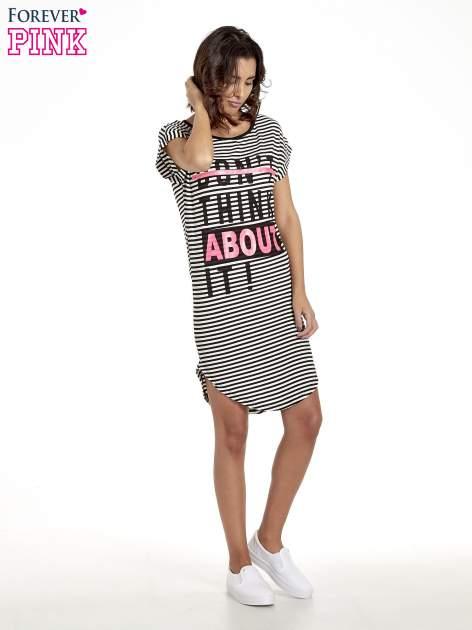 Czarno-ecru sukienka w paski z napisem I DON'T THINK ABOUT IT!                                  zdj.                                  8