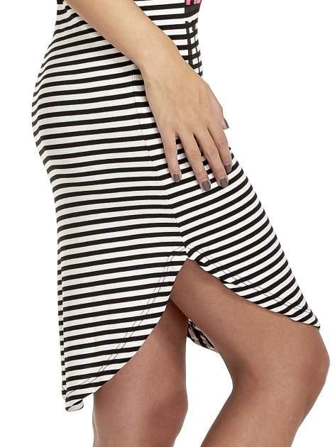 Czarno-ecru sukienka w paski z napisem I DON'T THINK ABOUT IT!                                  zdj.                                  6