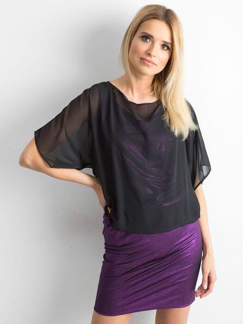 Czarno-fioletowa sukienka damska                              zdj.                              1