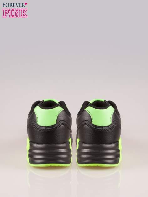 Czarno-limonkowe buty sportowe faux leather Power Up z poduszką powietrzną w podeszwie                                  zdj.                                  3