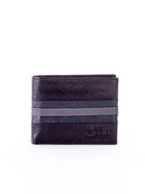 Czarno-niebieski portfel ze skóry naturalnej                               zdj.                              1
