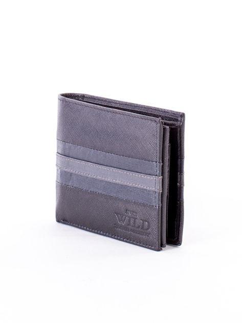 Czarno-niebieski portfel ze skóry naturalnej                               zdj.                              3