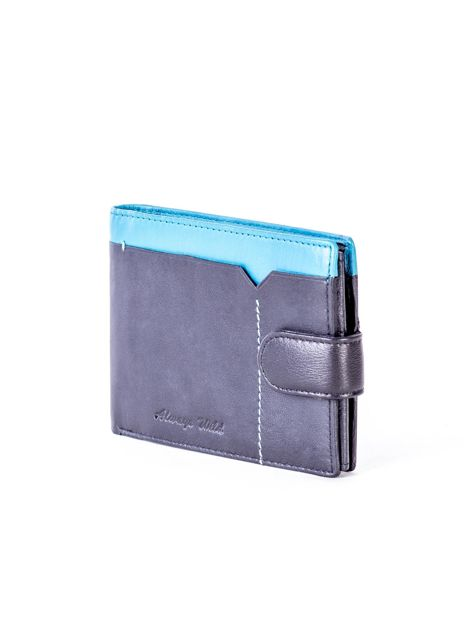 Czarno-niebieski skórzany portfel z przeszyciem i kolorową wstawką                              zdj.                              3