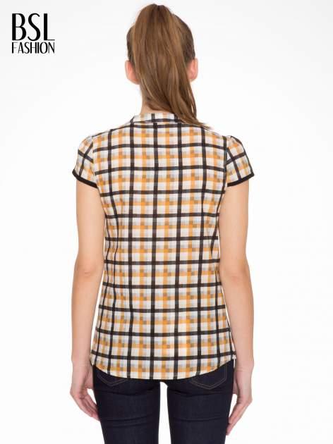 Czarno-pomarańczowa koszula w kratę z krótkim rękawem                                  zdj.                                  4