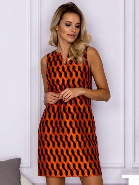 Czarno-pomarańczowa sukienka w geometryczne wzory
