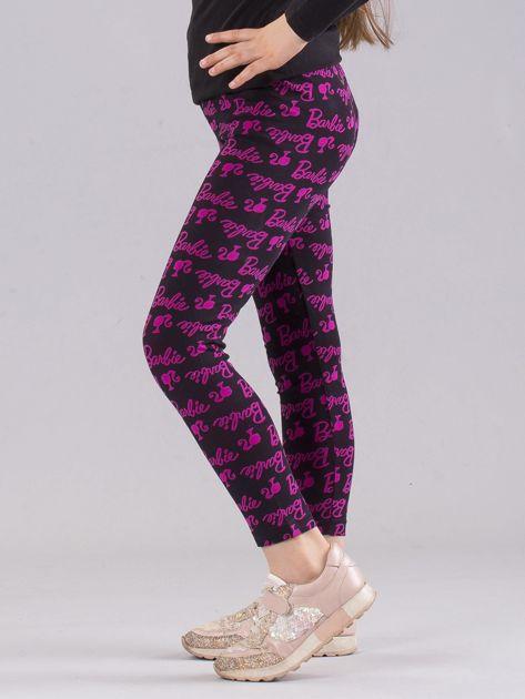 Czarno-różowe legginsy dziewczęce z nadrukiem BARBIE                              zdj.                              2