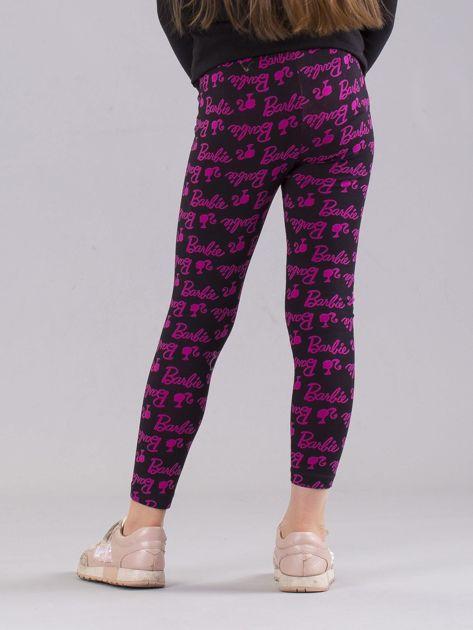 Czarno-różowe legginsy dziewczęce z nadrukiem BARBIE                              zdj.                              3