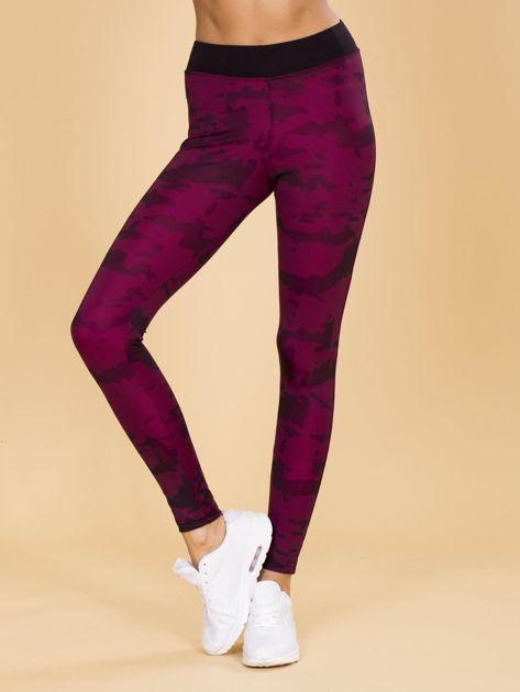 Czarno-różowe legginsy moro                              zdj.                              1