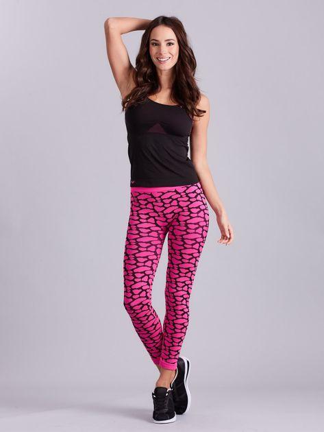 Czarno-różowy komplet fitness top i legginsy                              zdj.                              1