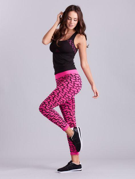 Czarno-różowy komplet fitness top i legginsy                              zdj.                              3