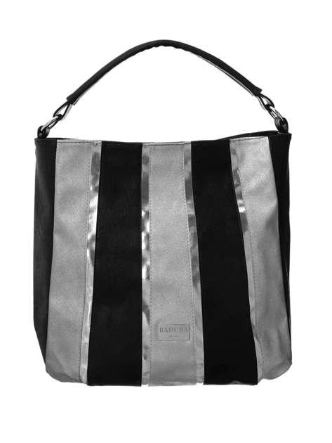 Czarno-srebrna duża torba BADURA