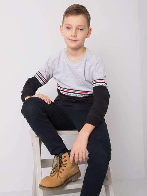 Czarno-szara bluza dla chłopca bez kaptura