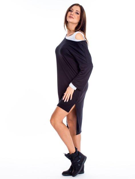 Czarno-szara warstwowa sukienka                              zdj.                              5