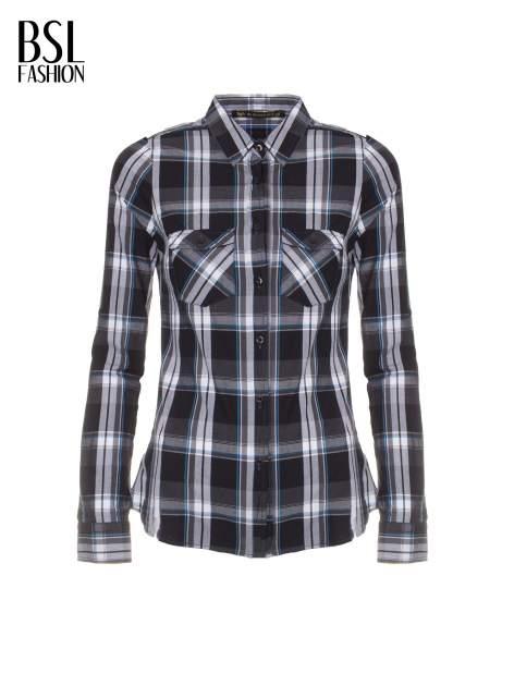 Czarno-turkusowa koszula w kratę z kieszeniami                                  zdj.                                  2
