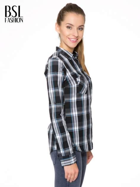 Czarno-turkusowa koszula w kratę z kieszeniami                                  zdj.                                  3