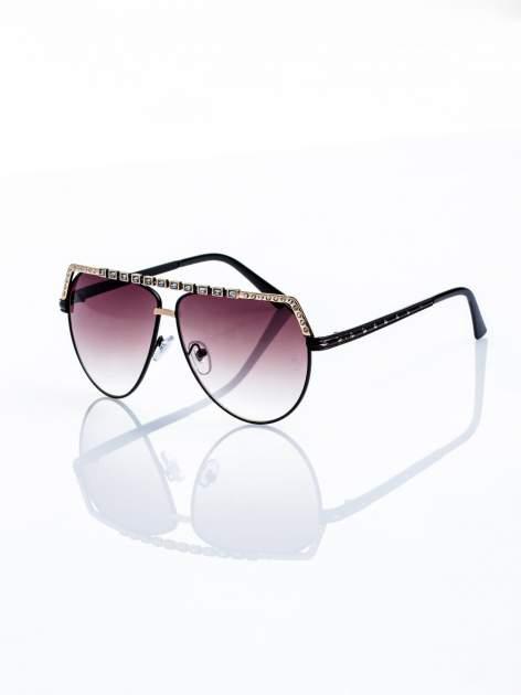 Czarno-złote okulary przeciwsłoneczne z cyrkoniami