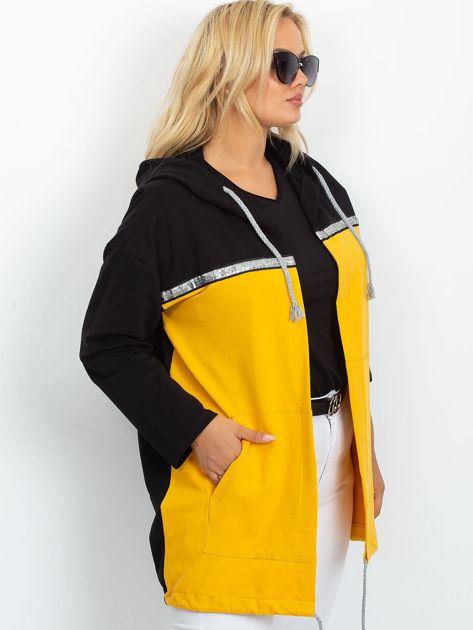 Czarno-żółta narzutka plus size Caroline                              zdj.                              3