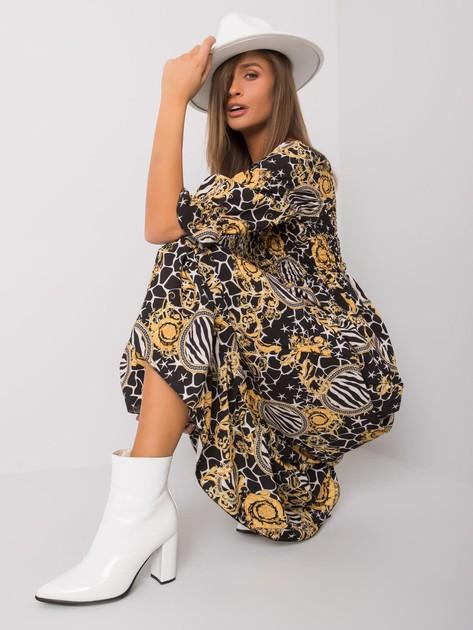 Czarno-żółta wzorzysta sukienka Bevelyn