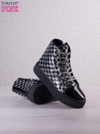 Czarnosrebrne sneakersy Kailey z cekinami w szachownicę                                  zdj.                                  3