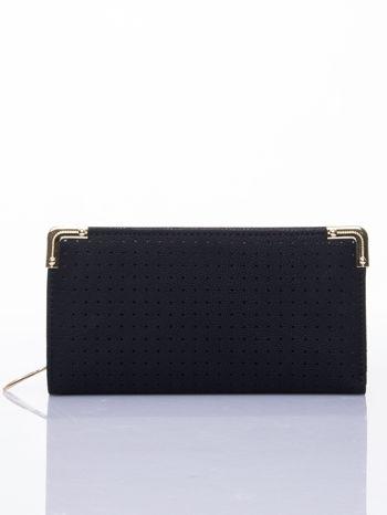 Czarny ażurowany portfel ze złotymi okuciami