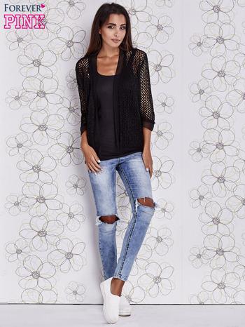 Czarny ażurowy sweter z tiulowym wykończeniem rękawów                                  zdj.                                  2
