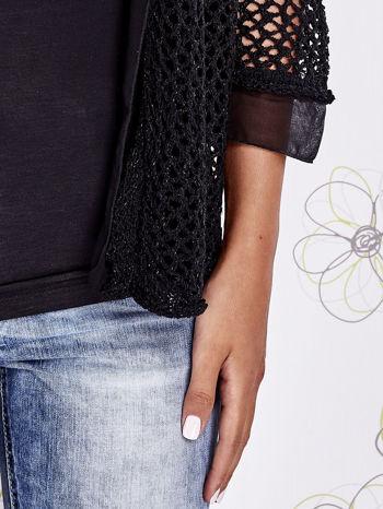 Czarny ażurowy sweter z tiulowym wykończeniem rękawów                                  zdj.                                  5