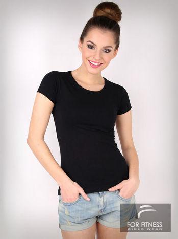 Czarny basicowy t-shirt For Fitness                                  zdj.                                  1